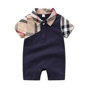 дети 2 цвета одежды детей дизайнер одежды для девочек мальчиков с коротким рукавом Plaid ползунки 100% хлопка сек грудного ребенка младенческой девушка одежды мальчика