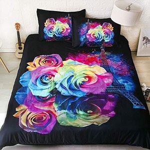 핑크와 블랙 무지개 킹 사이즈 파리 에펠 탑 침구는 침구는 3 조각 풀 세트 화려한 꽃 무늬 침대보 NO 보혜사를 설정했다
