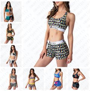 mulheres New Arrival Swimsuit Patchwork Tubarão dos desenhos animados impresso Swimwear sutiã push-up tanque Vest Swim Shorts 2pcs biquíni Set D51903