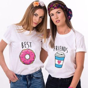 Women T Shirts Casual Tees 90s Ulzzang Tops Summer Best Friend Donut Print Female Tshirt Harajuku T Shirt Lady Woman Clothing