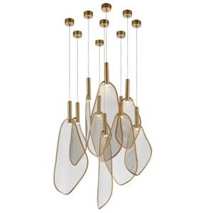 Modern Unique Fan Shape LED Pendant Lights Personality Parlor Pendant Lamp Bedroom Restaurant Hanging Lamp 220V Home Art Deco