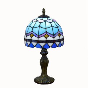 Tiffany Lampe de table bleue européenne Lampe méditerranéenne Vitrail Lampe de table créative Chambre chevet Bureau Lumière 20CM