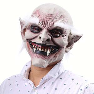 Halloween-Maske Creepy Scary Terror-Kostüm mit weißem Haar für Erwachsene Partei Horror Prop Halloween Cosplay Terrifying Supplies