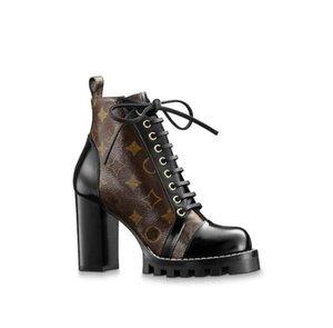 Botas de cuero para mujer Star Trail popular vogue tacón negro cordones de cuero vulcanizado suela de lujo 1a2y7w