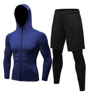 Sonbahar Erkekler Sıkıştırma Seti Kış Termal Gym Spor Spor Suit Koşu Seti Egzersiz Eşofman Sahte Sıkı Pantolon Spor Coat