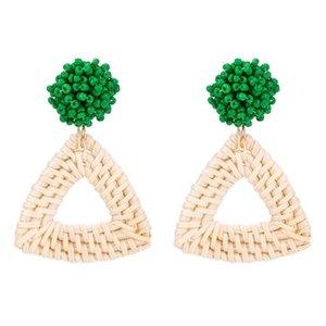 Hecho a mano de ratán tejida bola de lana cuadrada de las mujeres pendientes de las mujeres geométricas de metal chapado pendientes joyería de la joyería de la vendimia