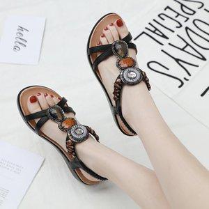 CINESSD PU Beach Slip On Platform Shoes Women Vintage Bead Wedge Sandals Woman 2020 Summer Shoes Woman Sandals Female Crystal 42