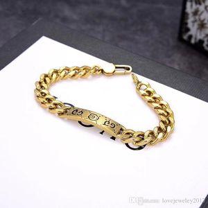 de lujo de la joyería de las mujeres del diseñador pulseras pulsera gruesa cadena de oro con la etiqueta retro pouplar moda antigua del mens