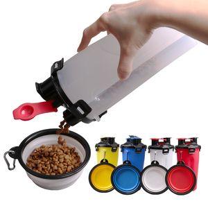 2 Dans 1 Pliable Coupe alimentation Bowels d'Extérieur Bouilloire Portable Alimentation pour animaux de stockage tasses d'eau avec 2 bols pour chien chat DHL