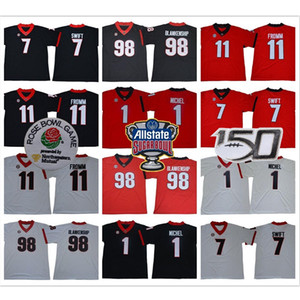 Georgia Bulldogs 98 Rodrigo Blankenship 1 Sony Michel 7 D'Andre Swift 11 Jake Fromm 2019 UGA Jersey Football NCAA 150th