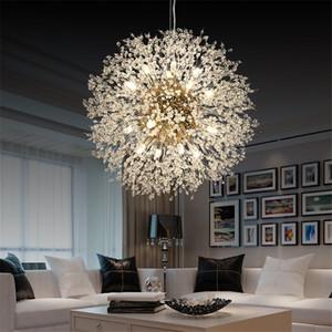 Nordic Dandelion ouro Chrome metal candelabro de cristal Creative Home Living Room Pendant Light Decor Fixação PA0568