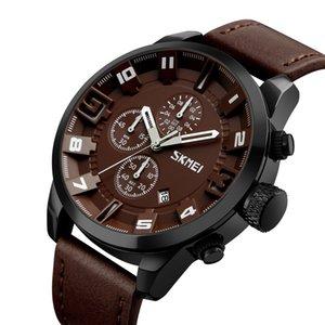 Resistente à água SKMEI relógio de quartzo 3ATM Homens Relógios Homem de couro genuíno Calenda Cronômetro Relógio de pulso masculino Relogio Musculino