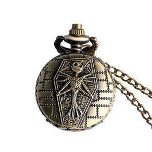 Antique Nightmare Before Christmas Pocket Watch Collier Vintage Mens Bronze Montre De Poche Halloween Cadeau Tim Burton Collier De Poche