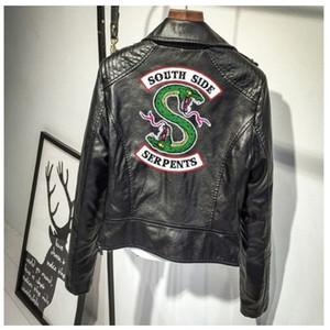 Southside Riverdale Serpente di stampa di cuoio di colore rosa / nero xxl Giacche Donne Riverdale Serpents Streetwear Pelle Marca Coat