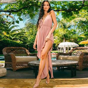 Vestido de verano para mujer sin espalda Breve vestidos casuales Sexy Profundo en V cuello vestido asimétrico de moda Cinta cruzada