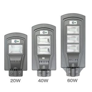 Солнечные светодиодные уличные фонари 20W 40W 60W Промышленные светодиодные фонари Радар движения + свет / пульт дистанционного управления Открытый настенный светильник Водонепроницаемый IP65
