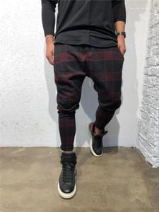 Imprimir del diseñador del Mens Pantalones Deportes Moda pantalones largos mediados de cintura con cordón flojo Ropa para Hombres a cuadros digital 3D