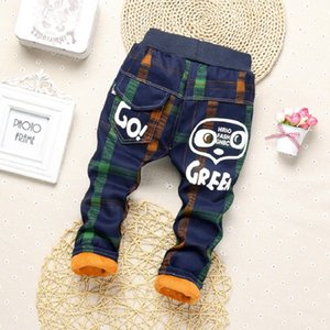 2019 Spring Winter plaid Boys Pants cartoon Children thick Warm cotton Pant Kids casual Camouflage trousers soft boy baby jeans