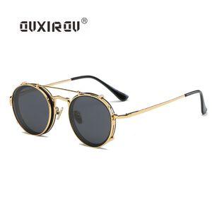 Steampunk Óculos De Sol Das Mulheres Dos Homens Do Vintage Óculos de 2 Clipe Em Retro Designer Óculos de Sol Das Senhoras do Punk Feminino Masculino Óculos S99021 C19022501