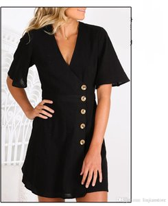 Summer Female V Neck Dress Women Short Sleeve Dresses with Single Button Sexy Ladies Work Dresses