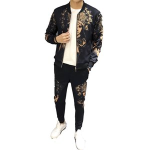 vêtements de sport de la piste de jogging 2019 cardigan impression personnalité costume veste printemps manteau chandail costume de sport occasionnels