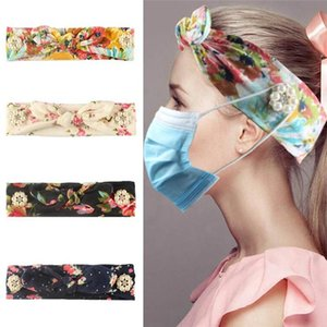 4 style Bow Flower Headbands with Button Face Mask Earloop hairband Ear Lanyard Hold Elastic headband Printing Girls hair accessories