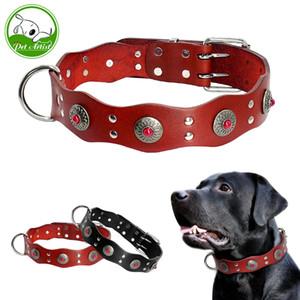 Durevole del cuoio genuino collare di cane registrabili Handmade dell'animale domestico di base collari Nero Marrone Per Medium Large cani Pitbull Y200515