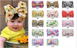 Cada bambini arco fasce neonato tie dye arcobaleno di girasole popolari fasce papillon per le vacche estate punto di cuore hairband unicorno