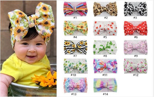 Drop shipping Kids bow headbands infant tie dye rainbow sunflower popular bow tie headbands for summer cow heart point unicorn hairband