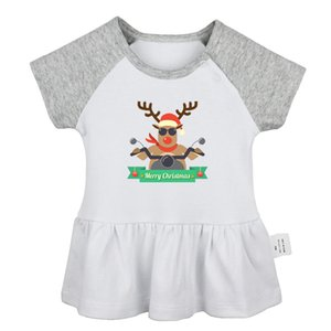 Merry Christmas Three Cute Christmas elk bells crooks and castles Graffiti Art Newborn Baby Girls Dresses Toddler Infant Clothes