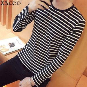 ZACOO Homens Listrado T camisas O-pescoço Moda Tees Camisa de Manga Longa Pulôver Ocasional Top san0