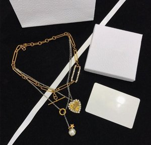 2020 Spring   Summer Love Brand Fashion Pearl jewelry Custom Imported Brass With Pearl Three-layer necklace