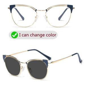 Солнцезащитные очки Фотохромные Мультифокальная Progressive Reading Glasses Женщины Optical Предписание Presbyopia диоптрий FML