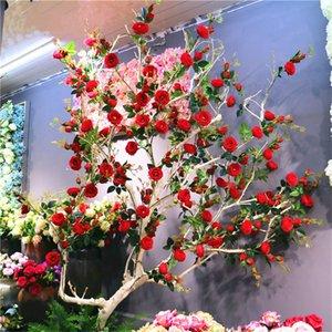 Simulazione di seta 3 testa francese romantico happy tea rose Decorazione della casa fiori finti Layout di scena di nozze regalo di San Valentino