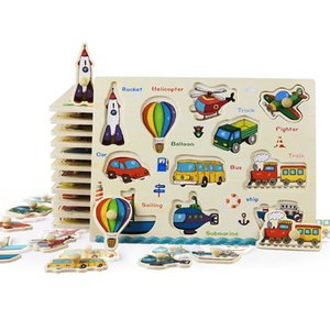 Bébé Jouets Montessori Puzzle En Bois / Main Grab Board Set Éducatif En Bois Jouet De Bande Dessinée Véhicule / Marine Animal Puzzle Enfant Cadeau