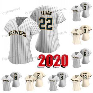 Женщины 2020 Сезон 22 Christian Yelich Джерси 3 Orlando Arcia 6 Lorenzo Cain 8 Ryan Braun 16 Ben Gamel 18 Keston Hiura Бейсбольные Майки