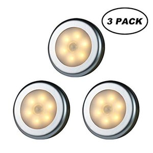 WRalwaysLX PIR LED Sensor Cabinet Light Stick-Em qualquer lugar Nightlight para Escadas Corredor, Closet, Armário (luz quente - 3pcs prata Shell)