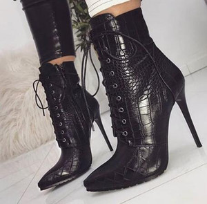 Snakeskin grain Ankle Boots For Women High heels Fashion Pointed toe Ladies Sexy shoes 2018 New Lace-Up Boots Size 35-42