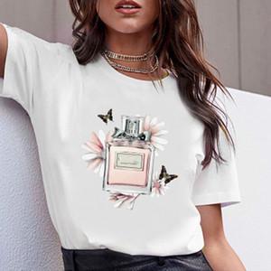Frauen Kleidung Druck-Blumen-Parfüm-Flasche süßes kurze Hülsen-Shirt gedruckte Frauen-T-Shirt T-Shirt Weiblich Top Beiläufige Frau T