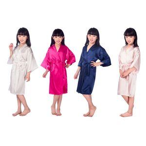 2019 Kids Robe Satin Children Summer Kimono Bath Robes Bridesmaid Girl Dress Silk Child Bathrobe Nightgown Solid Robes Q1