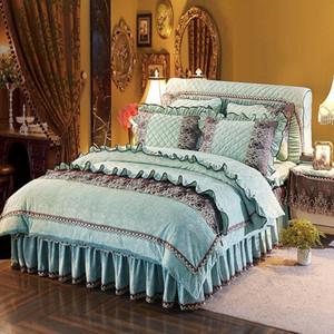 38 Prenses Kore Yatak Kraliçe Çift boyut Yatak Nevresim set Bed Couvre yaktı etek set de luxe
