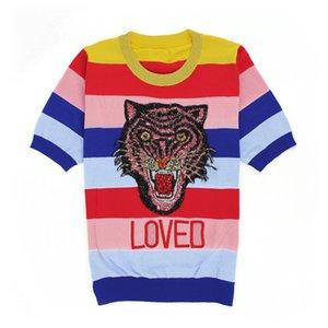 T-shirt da mulher de manga curta roupas Rainbow Stripe Jacket Cabeça de tigre bordado fino pedaço de gelo tricô Blousesi