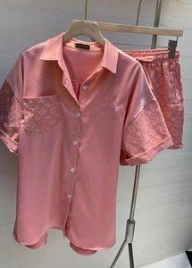 20SS V Письмо домашняя одежда Женская Цветочный печати Ice Шелковый пижама весна и лето Lovers Пижамы Бесплатная доставка Ins Hot
