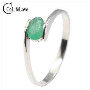Hotsale Silver Emerald Ring For Engagement 4 Mm * 6 Mm Natural I Grade Emerald Silver Ring Real 925 Silver Emerald Jewelry J 190430