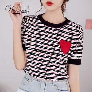 Luxury Designer Brand Knitted Top for Women O Neck Hot Drilling Red Love Striped Knitted T Shirts Black Blue B-090 CX200707