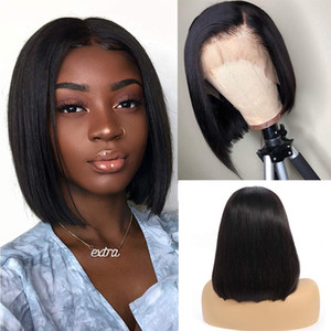 8-16inch 13x6 Dantel Ön İnsan Saç Peruk Düz Kısa Bob Peruk Doğal Siyah Brezilyalı Remy İnsan Saç Dantel Peruk