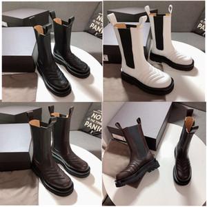 Designer chaussures en cuir véritable de la mode des femmes MID-CALF BOTTES DANS LA TEMPÊTE femmes de luxe CUIR marque de chaussure plate-forme orteils carrés bottes dame