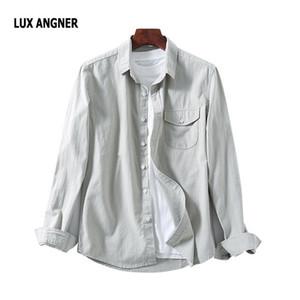 LUX ANGNER Erkek Denim Gömlek 2020 Yaz Moda Uzun Kollu Pamuk Gömlek Erkekler Rasgele Gevşek Nefes Gömlek Erkek Giyim