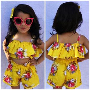 Toddler Baby Kids Girl Royal Floral Correa Tops Pantalones cortos Conjuntos de verano Conjunto de ropa