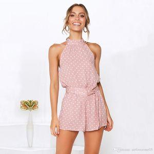 Punktspielanzug Sexy Backless Printed Shorts Jumpsuits cooles Stück Hose beiläufige Art und Weise Kleid der Sommer-Frauen Polka